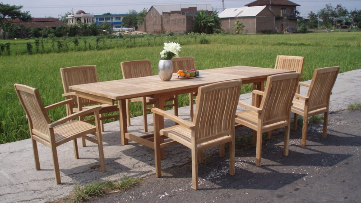 Njs 03 New Java Stacking Modusa Rect Table Set Indonesia Garden Teak Outdoor Furniture